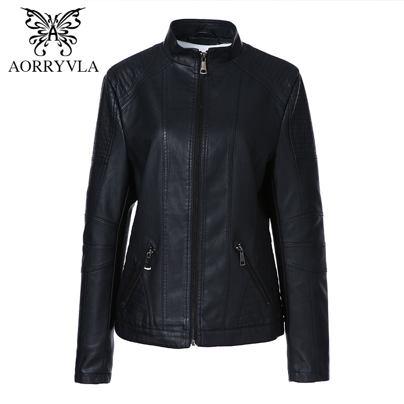 AORRYVLA 2018 Autumn New Fashion Women   Leather   Jacket Plus Size Mandarin Collar Regular Length Zipper Slim Faux   Leather   Coat