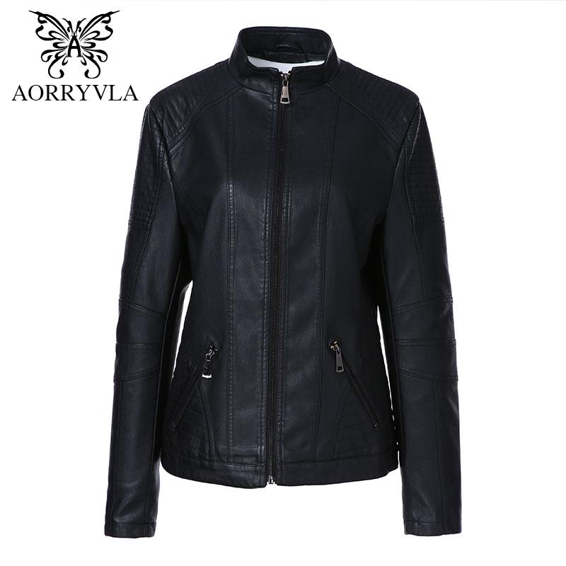 AORRYVLA 2018 Herbst Neue Mode Frauen Leder Jacke Plus Größe Stehkragen Regelmäßige Länge Zipper Dünne Faux Leder Mantel-in Leder & Wildleder aus Damenbekleidung bei  Gruppe 1