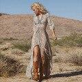 2017 nova verão Sexy Laço Boemia Senhoras Vestido solto top de Chiffon Longo flor impressão palavra colarinho bolha Hubble vestido de férias