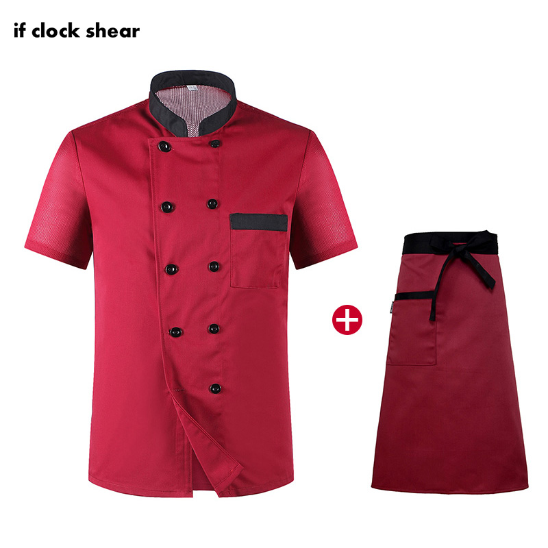 Unisex Short Sleeve Chef Restaurant Hotel Kitchen Uniforms Catering Workwear Red Breathable Thin Cooking Jacket + Apron Summer