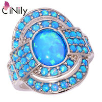 Distinctive Charming Wholesale Retail Women Jewelry Blue Fire Opal 925 Silver Plated Ring Size 7 8