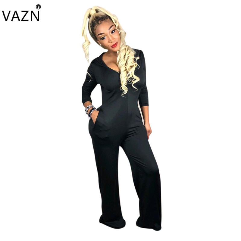 VAZN Autumn Top Quality New Elegant Casual Design Women Jumpsuits Solid Hooded Full Sleeve Lady Bodycon Romper SM6647