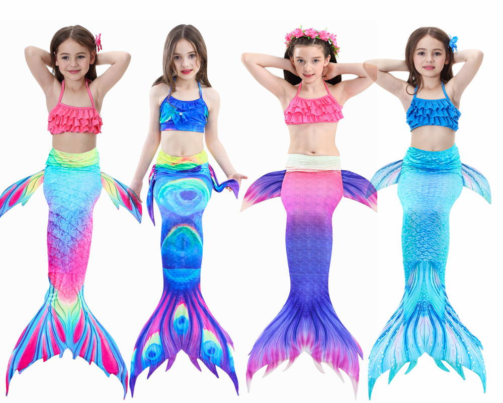 HOT!3PCS/Set Kids Girls Mermaid Swimming Tail Swimsuit Summer swim dress cosplay mermaid tails No monofin Swimwear for Girls girls mermaid swimsuit princess ariel mermaid tail for swimming children kids princess dress fishtail swimsuit 3pcs bikini set