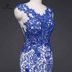 Image 5 - שירי שירים 2019New ארוך שמלת ערב vestido דה festa סקסי ללא משענת יוקרה כחול פורמליות המפלגה שמלה לנשף שמלות סין