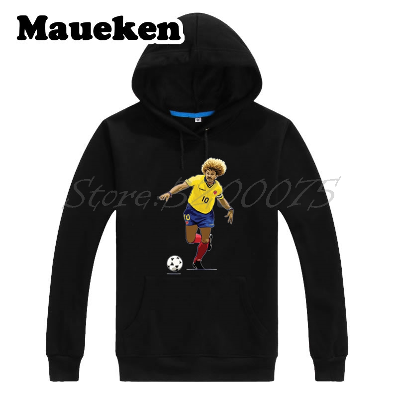 Hoodies & Sweatshirts Methodical Men Hoodies The Child Carlos Valderrama 10 el Pibe Colombia Legend Captain Sweatshirts Hooded Thick W172103