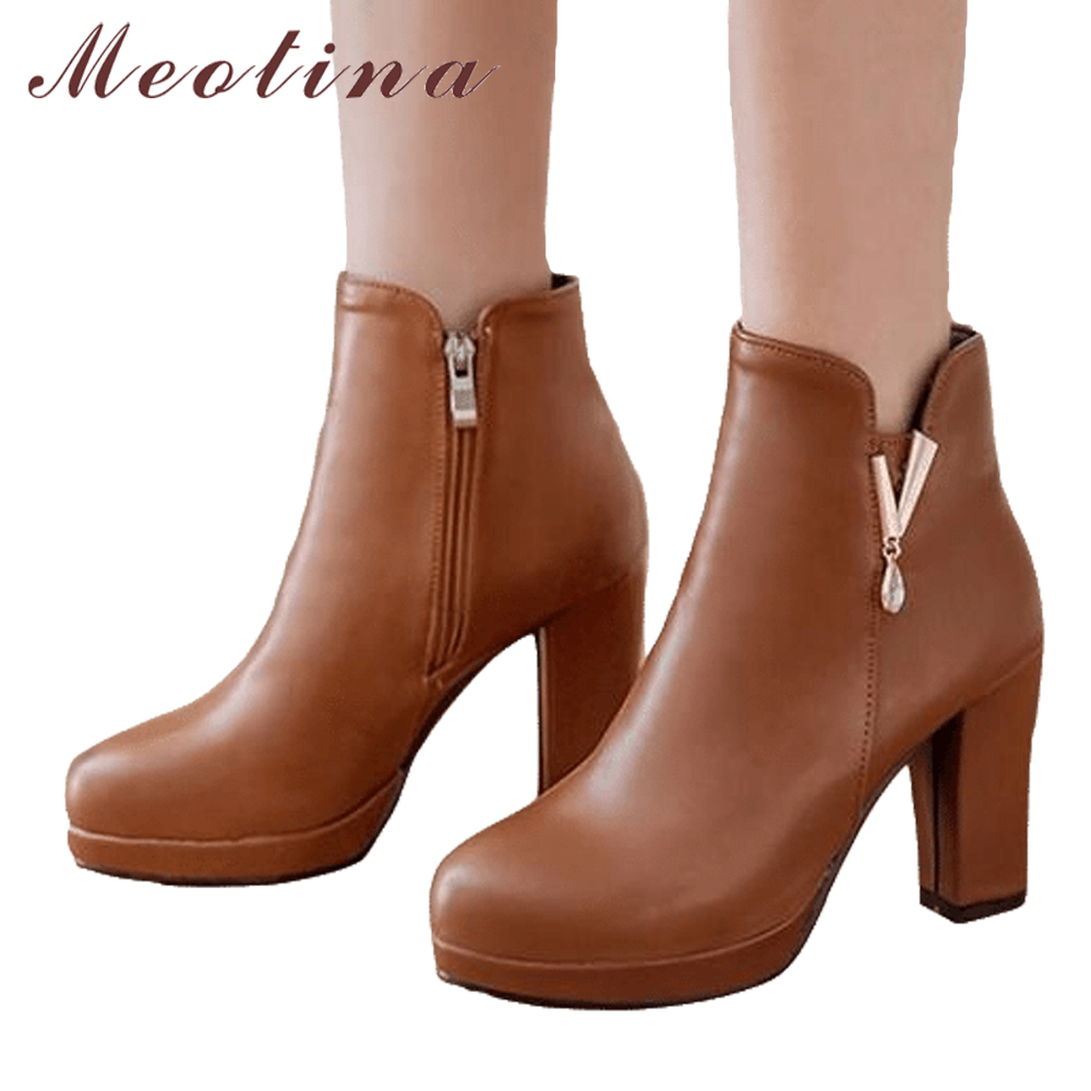 Meotina Women Ankle Boots Winter Platform Boots Square High Heel Short Boots Zipper Grace Ladies Short Shoes Brown Black 34-43 meotina women boots winter chunky heel western boots ladies ankle boots large size 34 43 female autumn shoes 2018 white brown