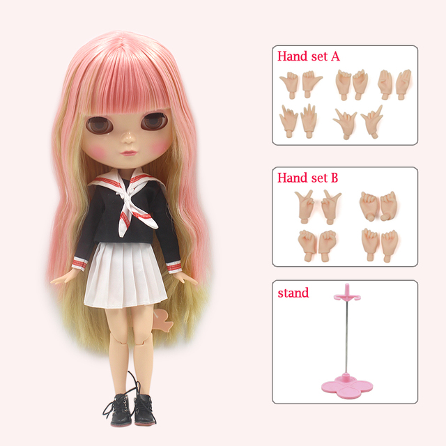 ICY DBS Doll Azone Joint Body Small Chest Pink and Yellow Hair Full Set Clothes, Shoes, Hand Set and Stand BL6022/0828
