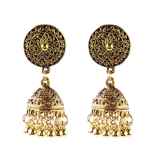 Douvei этнические золотые серьги jhumka jhumki Висячие для женщин