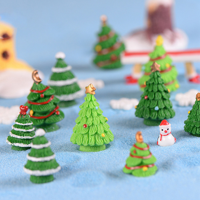 5pcs christmas tree decorations for home decor miniature fairy garden accessories modern figurine ornaments resin craft