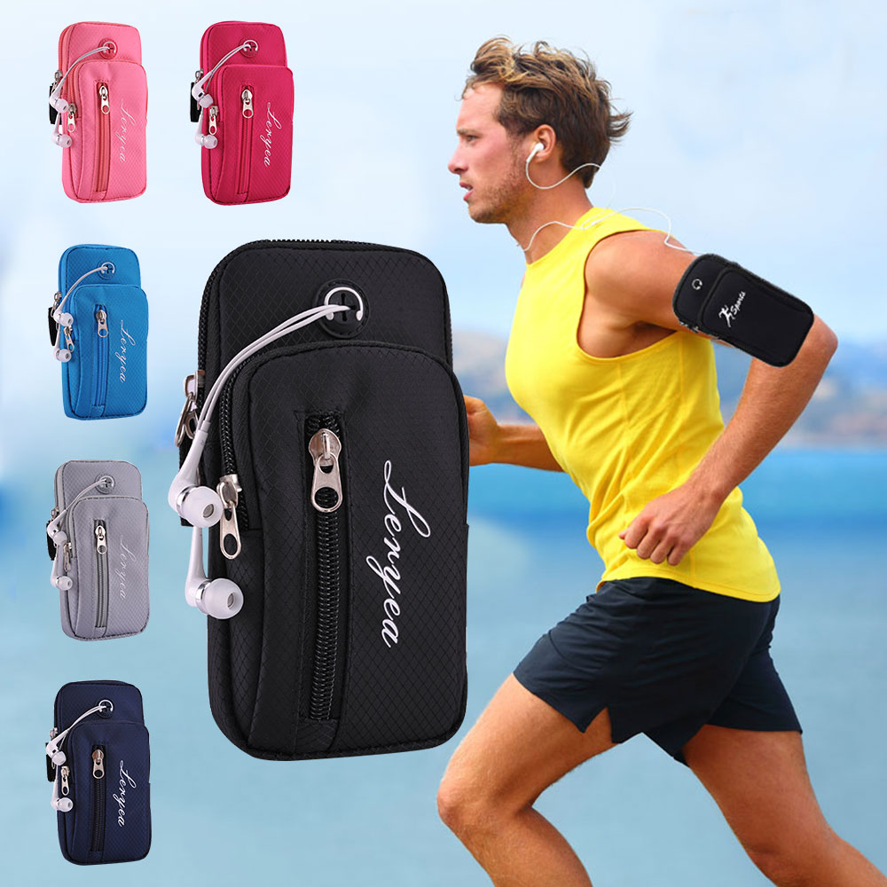"Outdoor Sports Armband Waterproof Running Arm Bag with Headset Hole Casual Arm Package Bag for 5.5"" Phone Money Keys Holders"