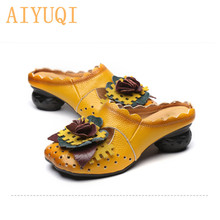 AIYUQI Female slippers retro 2019 new summer 100% genuine leather shoes women flower footwear Casual outdoor mom