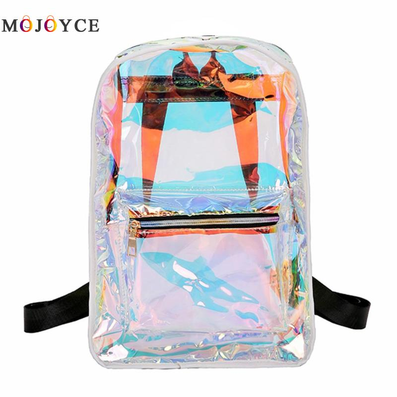 Street Women Clear PVC Laser Hologram Backpack Transparent Girls Casual Shoulder School Backpack Mochila Feminina Travel Bag