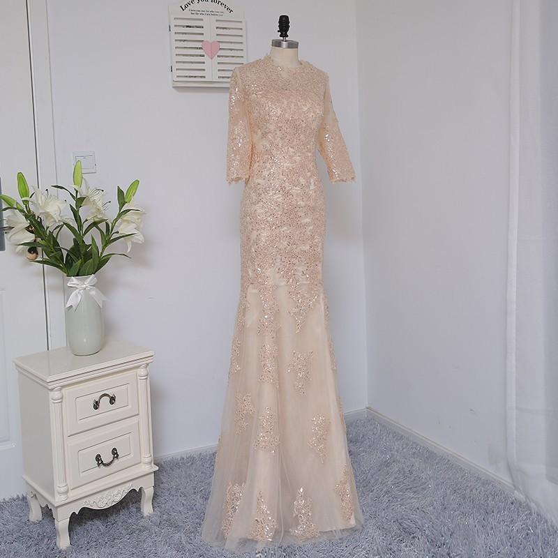 HVVLF Champagne Evening Dresses 2018 Mermaid Half Sleeves Tulle Sequins Elegant Long Evening Gown Prom Dress Prom Gown 3