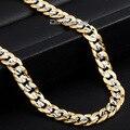 Модный 6 мм золото заполненные ожерелье браслет женщин мужские ожерелье обуздать кубинский круглой огранки цепи GN275