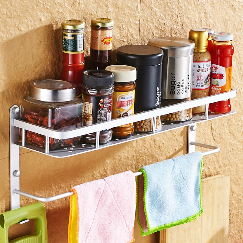 A1 Kitchen non-porous rack shelf wall hanging seasoning rack storage rack accessories Lu50316 a1 hotel bathroom washbasin wall hanging solid thickening rack space aluminum wall hanging storage rack wx7201648