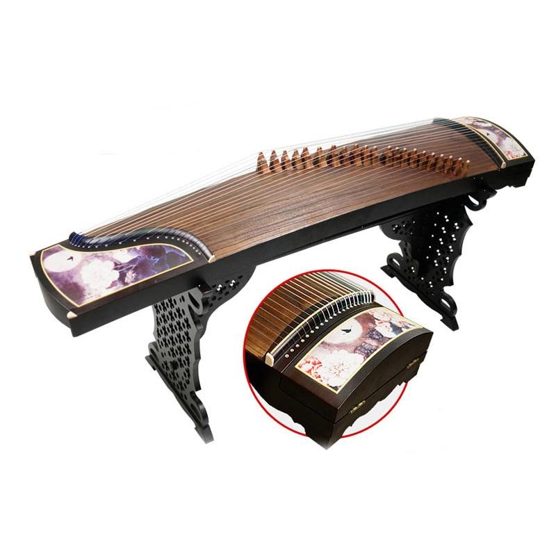 Guzheng Paulownia Bois Professionnel Enseignement Ajouré Sculpture Motif