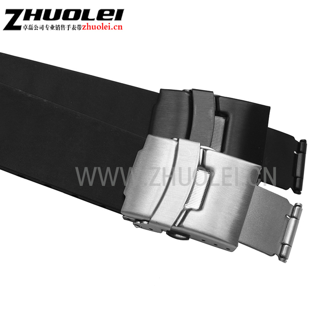 24mm(11mm lug) black lug end rubber Waterproof bracelet watchband for men's Oris watches band with stainless steel clasp