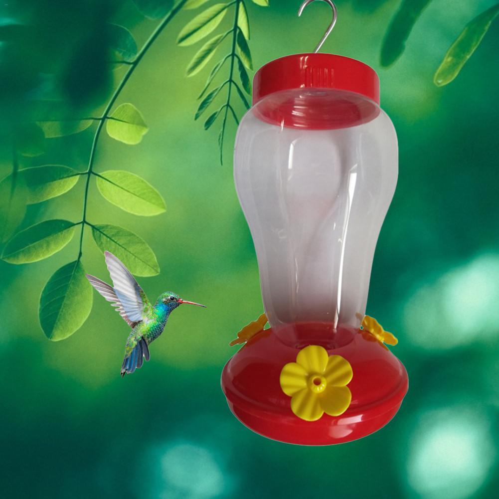 Plastics Bird Water Feeder Bottle Hanging Hummingbird Garden Outdoor Plastic Flower Iron Hook