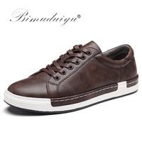 BIMUDUIYU Autumn New Casual Shoes Mens Leather Flats Lace Up Shoes Simple Stylish Male ShoesLarge Sizes