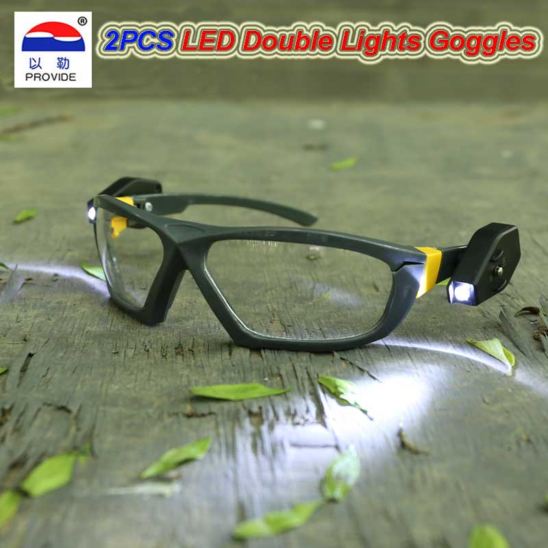 801D LED Lights Safety Goggles Night Reading Eye Glasses For Safe Industrial Work Car Repair Outdoor Sports Riding Lighting