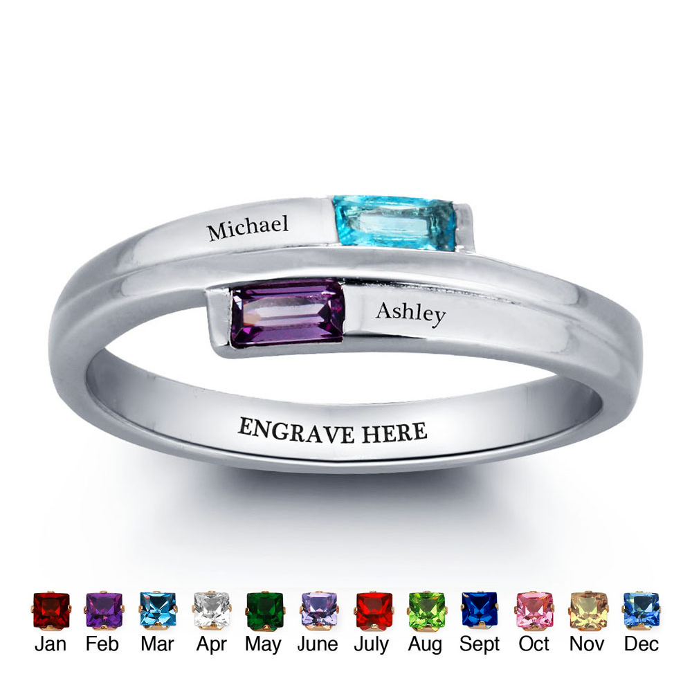 Personalized DIY Promise Name Rings Couple Stone 925 Sterling Silver Cubic Zirconia Lover Ring Free Gift Box (Silveren SI1782)