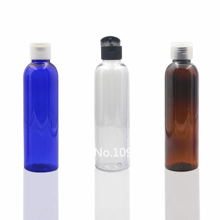 20PCS 150ml Blue Clear Brown PET Plastic Bottle With Flip Top Cap 150cc Cream Bath Liquid Shampoo Emulsion Plastic Bottle chanel 5ml cc cc cream