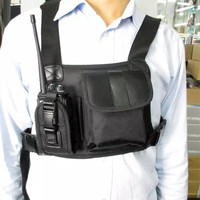 Nylon tactical chest bag holster pouch 2 pockets for kenwood baofeng motorola wouxun puxing etc walkie talkie