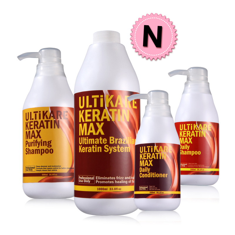 ФОТО 4pcs/set 500ml purifying shampoo and 5% keratin treatment and daily shampoo and conditioner For Hair Coarse, Dry Split Ends