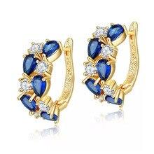 MxGxFam темно-синие круглые CZ серьги-кольца для женщин AAA+ кубический циркон 18 К желтого золота Цвет наивысшего качества