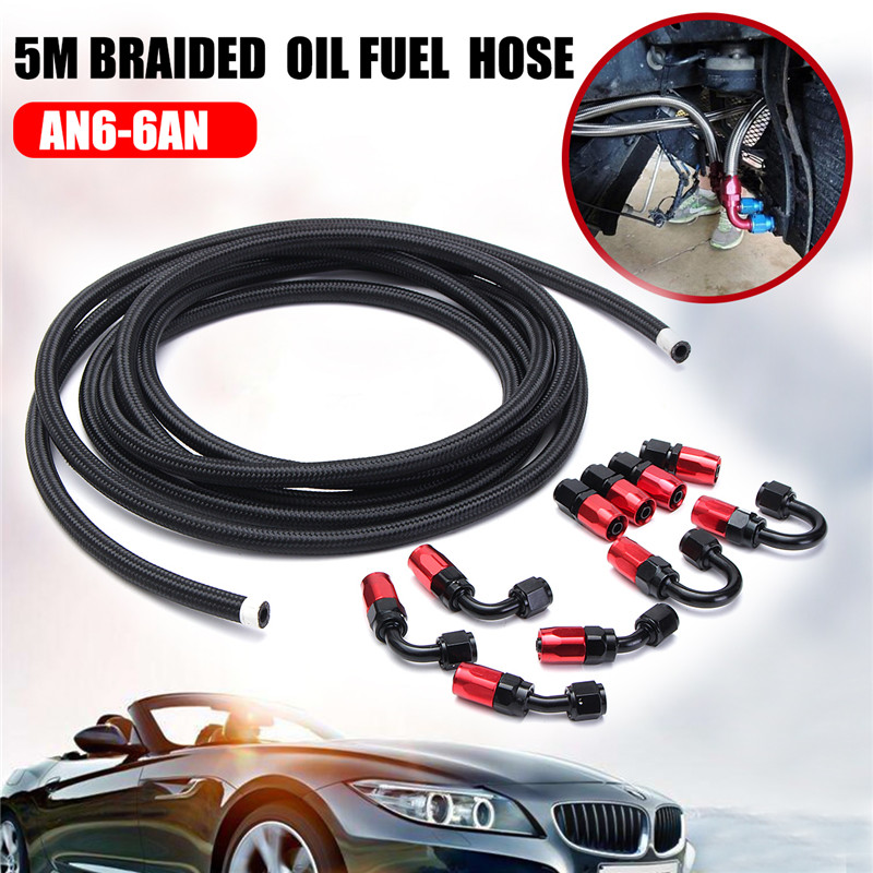 11Pcs/set 5M AN6 6AN Stainless Steel Oil Fuel Braided Line Hose & Fitting End Adapter Kit Auto Replacement Parts