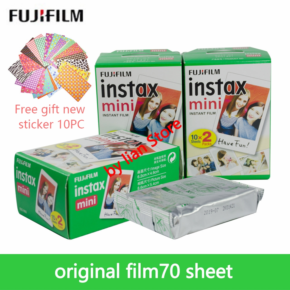 Fujifilm Instax Mini 8 Blanc 3 pouces Film 70 Feuilles + Livraison Autocollants pour FUJI Instant Photo Caméra Mini 9 7 s 25 50 s 70 90 Caméra