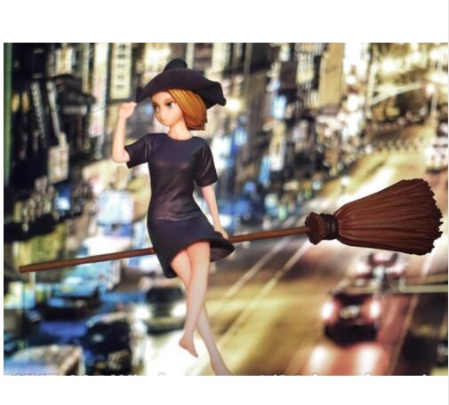 1/24 75mm Witch With Broom 75mm    Toy Resin Model Miniature Kit Unassembly Unpainted