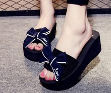 купить 2019 Summer Women Shoes Platform Sandals Beach Flip Flops Slip On Slippers Women High Heel Shoes Bowknot Wedges Ladies Slippers по цене 1148.99 рублей