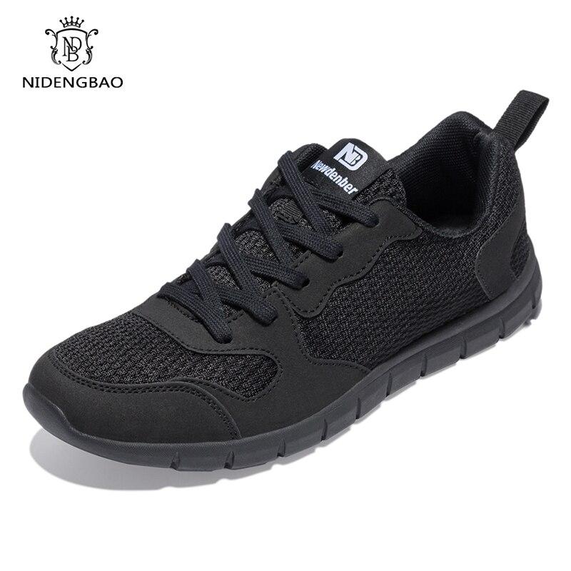 Nidengbao homens sapatos casuais grosso confortável malha sapatos de caminhada calçados masculinos leves mais grande tamanho 47 48 49 50