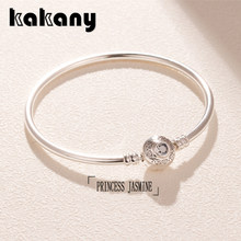 Kakany 925 Sterling Silver Disne Princess Jasmine And Aladdin Bangle High Quality 1:1 Fashion Women's Popular Diy Jewelry(China)