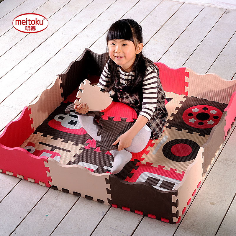 Meitoku Baby play puzzle mat,EVA Foam Interlocking Rugs Tiles for kid,carpet,Thick 14mm,All 9piece and Fence