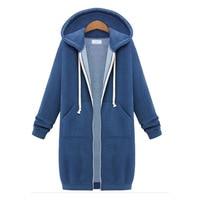 Autumn Winter Hooded Zipper Long Coat Sweatshirts Fashion Women Plus Size Casual Loose Oversize Jacket Women Hoodies Overcoats