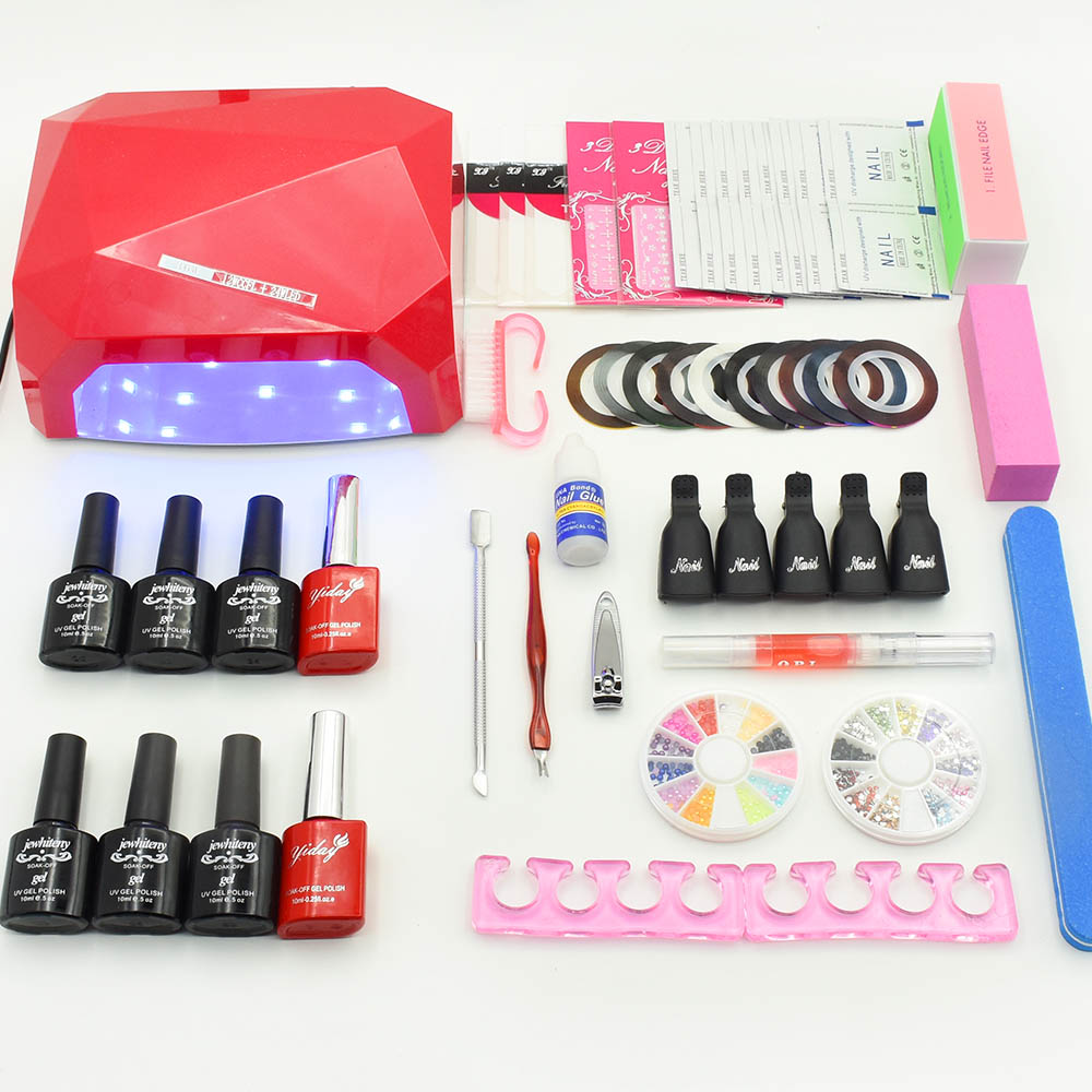Nail art set Manicure Tool 6 Color (120 colors) soak off uv Gel base top coat nail polish varnish Remover Practice set File kit nail art manicure tools set uv lamp 10 bottle soak off gel nail base gel top coat polish nail art manicure sets