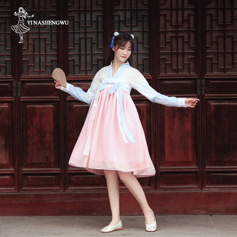 Hanfu Costume Dress Women Improved Hanfu Daily Short Sleeve Hanfu Embroidered Crossdresses Costumes Han Elements Student Set 31