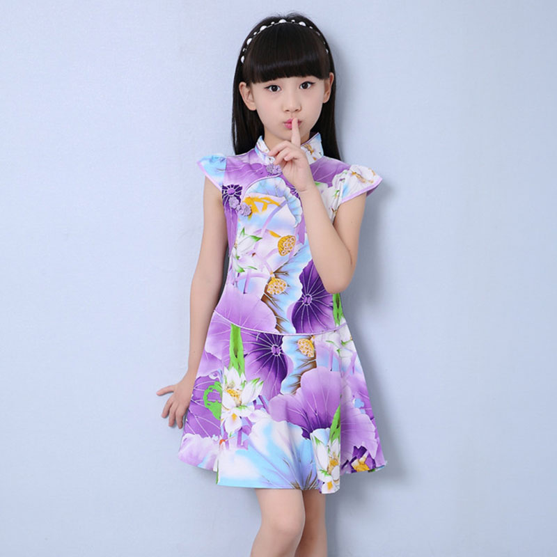 Kids Girls Traditional Dress Chinese Cheongsam Oriental Style Clothes Girl Cheongsam Dress 7 Color Short Sleeve Girl Qipao