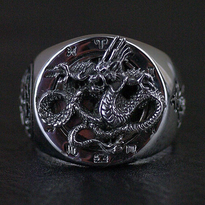 925 Sterling Silver Thailand imports solid Dragon Thai Silver Ring thailand imports skull blood new skeleton silver ring
