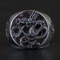 925 Sterling Silver Thailand imports solid Dragon Thai Silver Ring