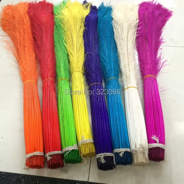Free Shipping 100pcs/color, length:80-90cm,Bleached and dyed peacock feather  peacock feathers wedding decorations wholesale