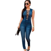 Zmvkgsoa Womens Denim Overalls Jumpsuit Romper Sleeveless Lace Up Sexy Bodysuit For Women Jeans Pants Plus Size Body Feminine
