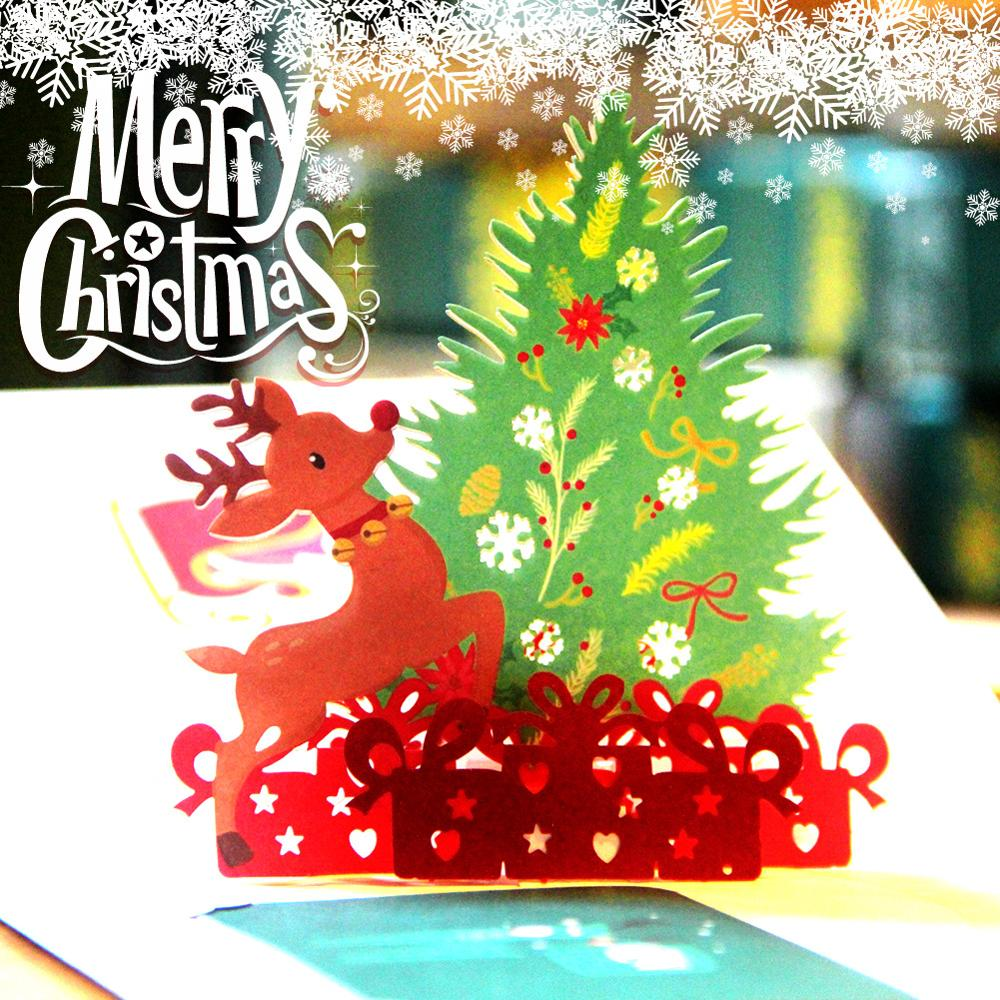 Professional Design Paper Gift Merry Christmas Hand Made 3D Printing Birthday Happy New Year Greeting Card
