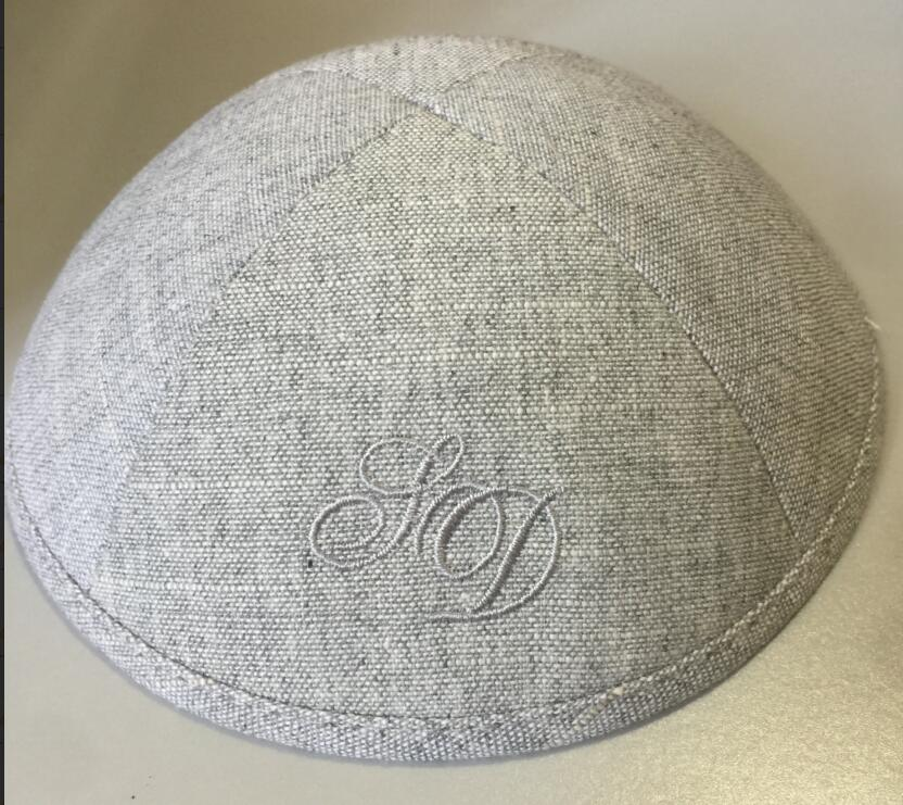 LIGHT GREY HEAVY LINEN KIPPAHS WITH PALE BLUE EMBROIDERY LOGO