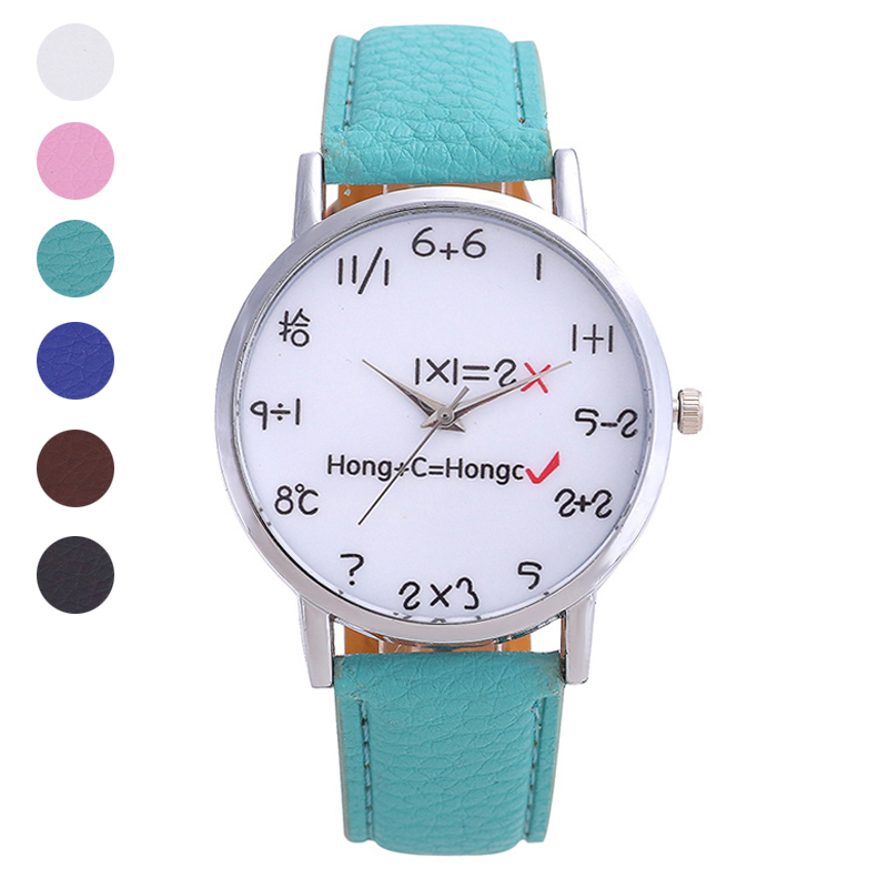 Woman Man Casual Digital  Quartz Wrist Watch With PU Leather Strap Large Dial Watches LL@17