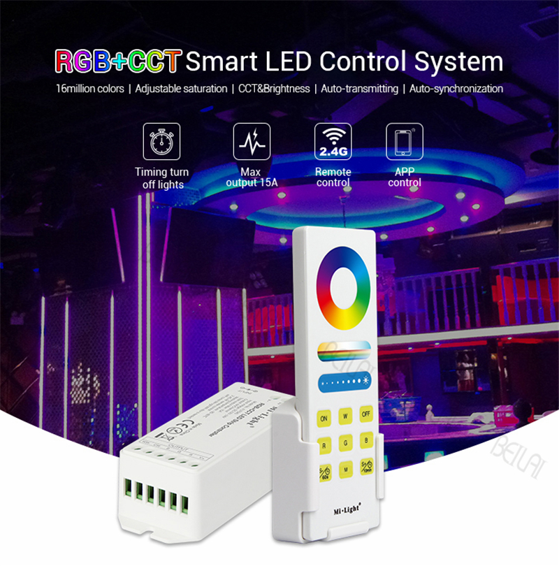 2.4G RF Mi Light RGBW RGB CCT Smart LED Remote Control System 15A Led Controller dimmer For SMD Led strip light infrared remote control w led dimmer for led light stripe white