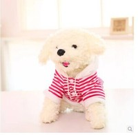 about 32cm white Teddy dog plush toy dressed red stripes cloth dog doll children's gift w5807