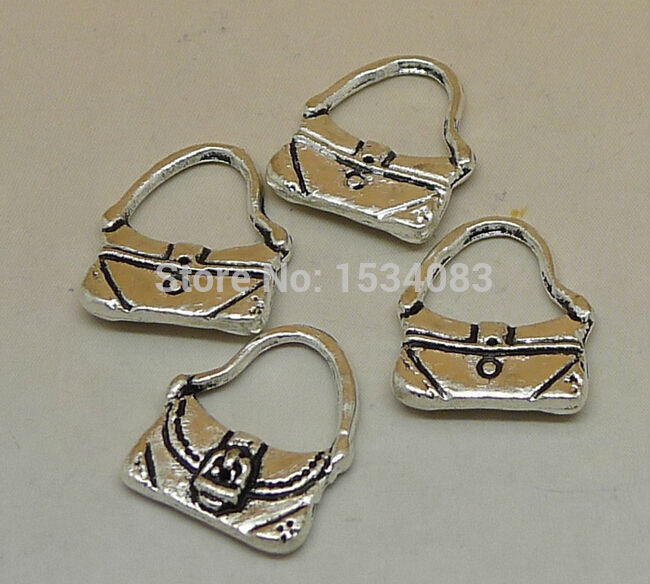 Livraison gratuite sac à main Portable sac charme pendentif 15 pcs 12   15  mm argent antique bracelet collier métallique en forme de bricolage  fabrication ... bf4b5a358ab